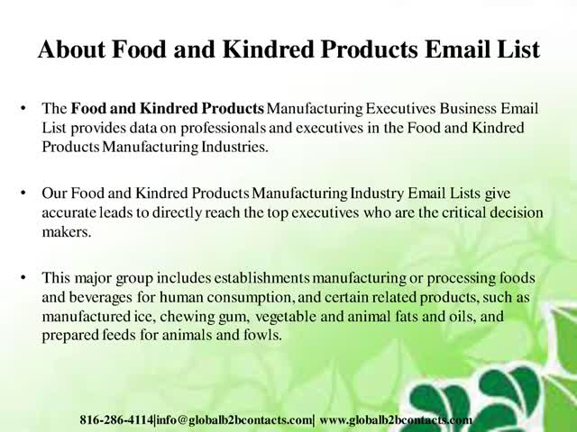 Food and Kindred Products Email List : u/shreeyellen